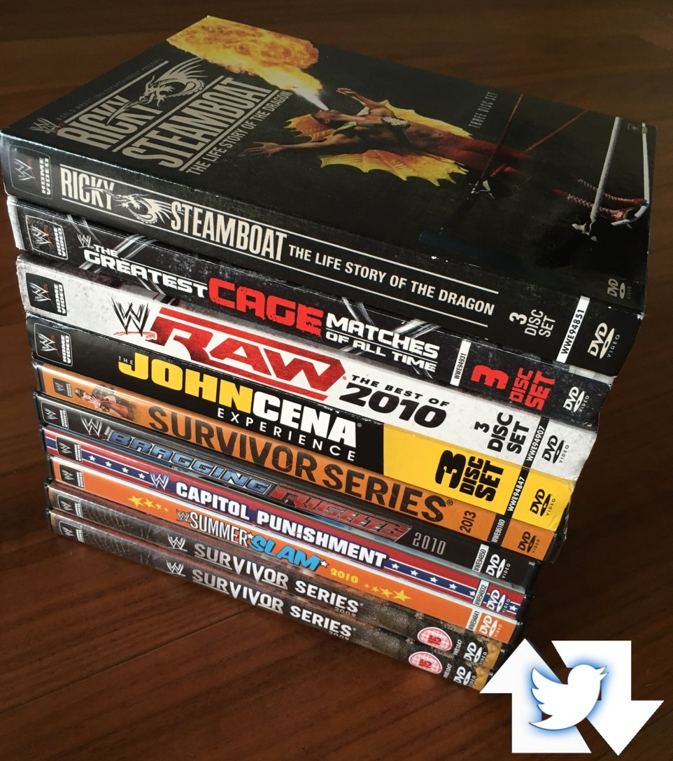 #GIVEAWAY: 1 pile of #WWE DVDs, 10 winners!! Win free prizes left over from Xmas – just FOLLOW and RT THIS to enter. https://t.co/28IckSGhqH