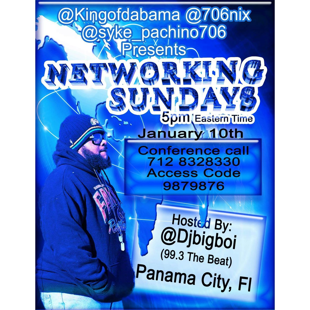 @Kingofdabama @706nix @syke_pachino706 Presents Networking Sundays Hosted By @Djbigboi (99.3 The Beat) Panama City https://t.co/krI4Hr9WWz