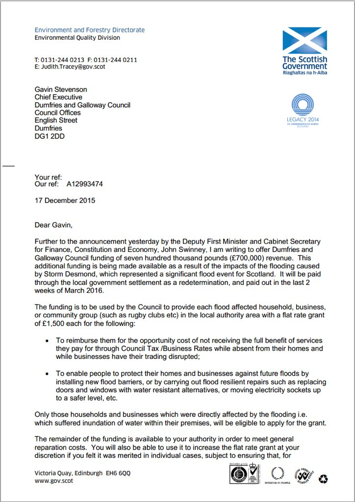Here is letter offering @DGLabour council money for flood victims- £1500 each -but they won't pass it on to victims https://t.co/5fIeOwnrS1