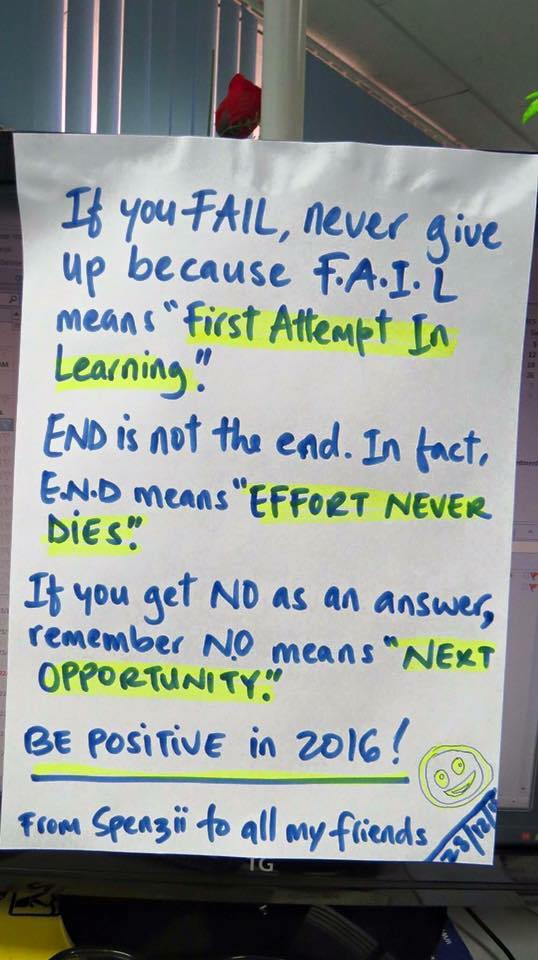If you fail, never give up because F.A.I.L means 'First Attempt In Learning' h/t @sonofedd https://t.co/0QPnI09UvE