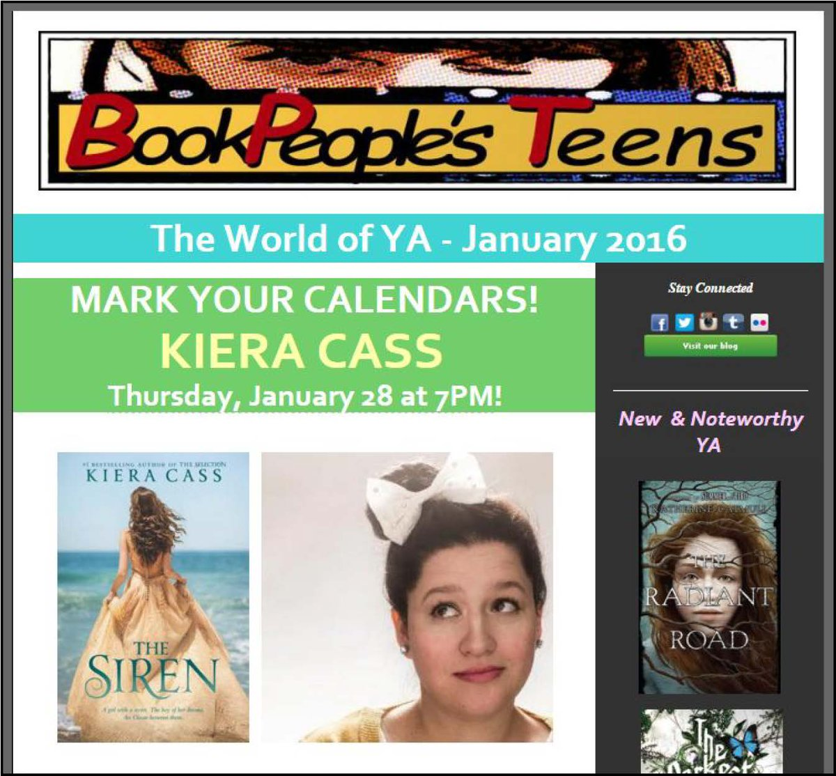 Our January #YAlit enews just went out featuring @kieracass, here 1/28 w/ SIREN! https://t.co/TTvI0apIQO https://t.co/Mqo7soIXgG