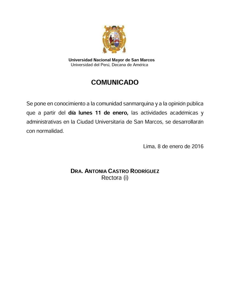 #UNMSM: Se restablecen las actividades a partir del lunes 11 de enero en la Ciudad Universitaria. https://t.co/8GR6GY8ZJL