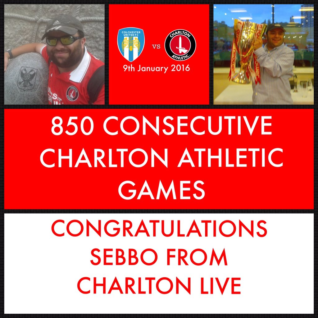 Today's game at @ColU_Official marks @SebLewis81's 850th consecutive Charlton game. Fantastic support Sebbo! #cafc https://t.co/Pp14MKVJ8d