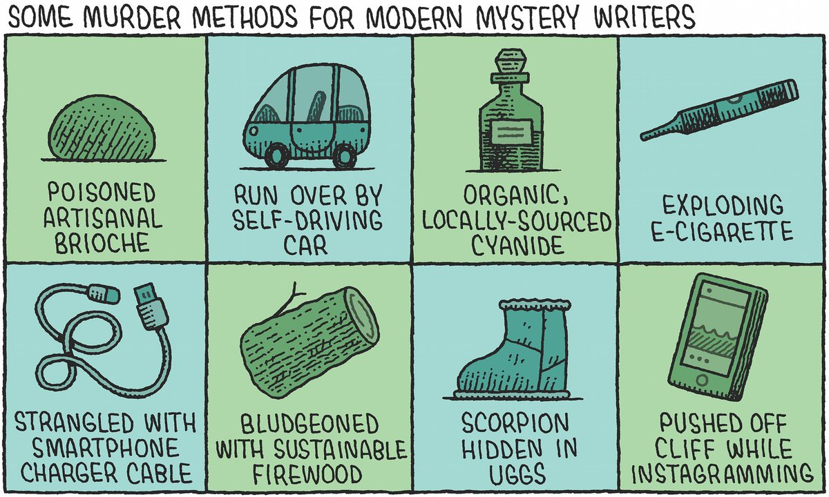Murder methods for modern mystery writers, @tomgauld's latest cultural cartoon https://t.co/wR5yjgDxUZ https://t.co/GZAYLubxX2