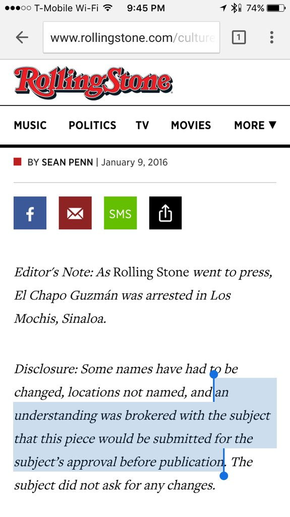.@RollingStone submitted draft of its story to El Chapo for approval. Unbelievable. https://t.co/h2fFAt9McX