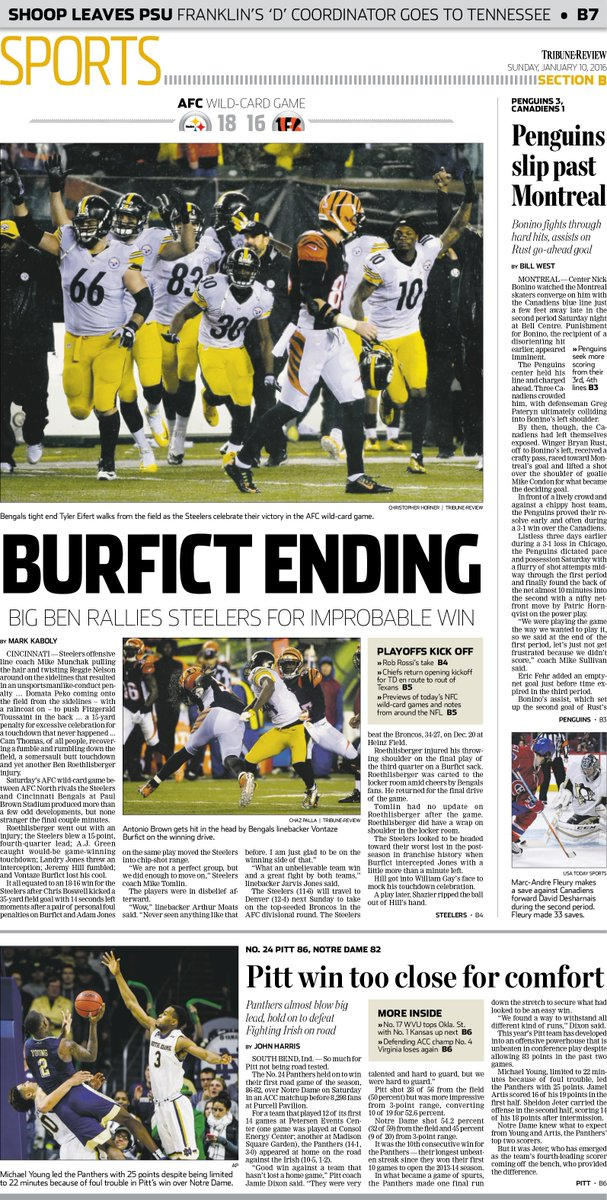 Here's Sunday's cover featuring @steelers-@Bengals in AFC WC; for @MarkKaboly_Trib's story: https://t.co/m5o4wDB4vC https://t.co/ospUQjDJww