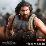 RT @BaahubaliMovie: Hope you guys have a great time watching 'Baahubali : The Beginning' at 5:30pm today! #BaahubaliOnMaaTV https://t.co/oz…