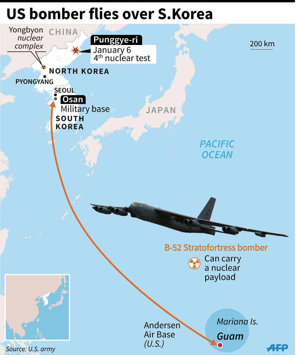 Map: us bomber\'s route from #guam to #osan, south korea, after ...