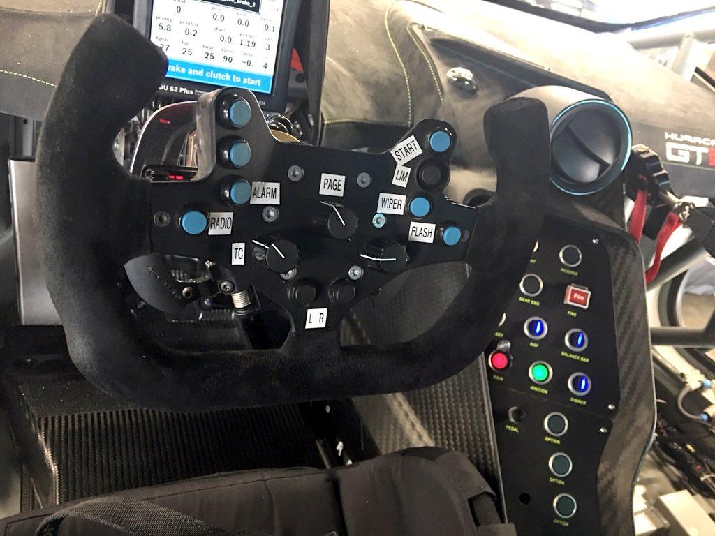 Top flyer @Lamborghini cockpit and wheel @Rolex24Hours https://t.co/hrbgJIdVZz