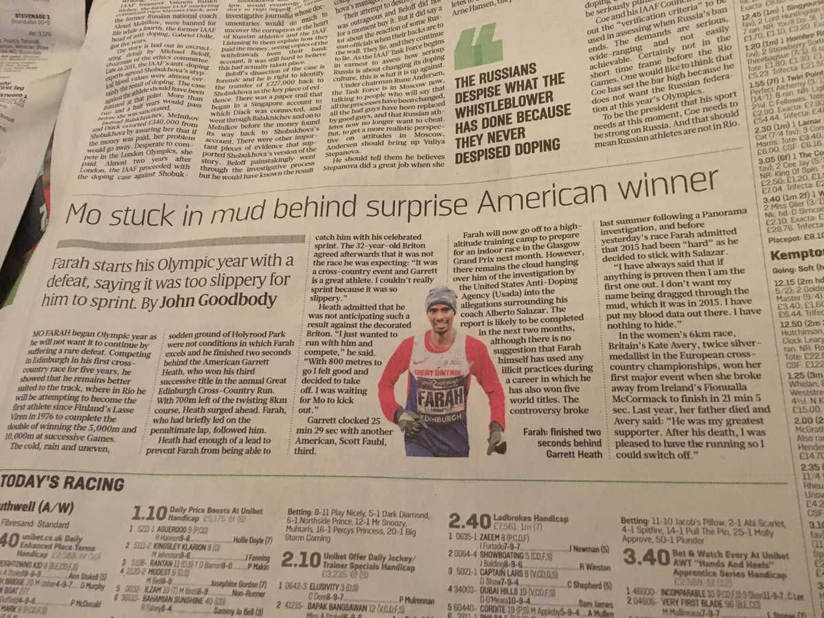 Mo Farah second in XC championship, gets 90% of the article: Kate Avery, GB athlete, won the women's: 1 paragraph. https://t.co/lZO6jq42rL