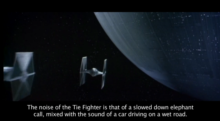 The sound of the Tie Fighter is a combination of an elephant call and a car driving on a wet road. #StarWarsBegins https://t.co/G8NKeIYXmg