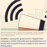 RT @amitrajwant: Good News: Joister Infomedia launches free wi-fi in 4 Maharashtra cities. Where is Kejri? @Dev_Fadnavis #WiFi https://t.co…