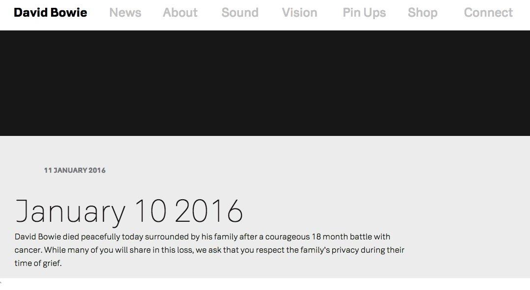 デビッド・ボウイの訃報。オフィシャルホームページにも発表された。 https://t.co/bYiFjpHh7S