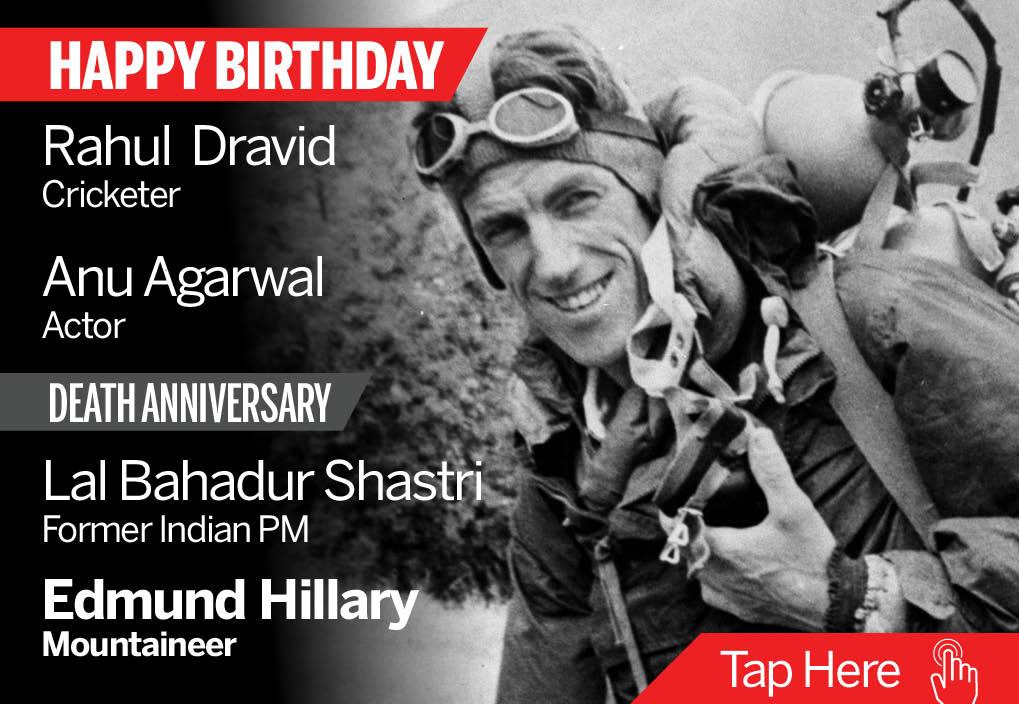 Homage Edmund HIllary, Lal Bahadur Shastri. Happy Birthday Rahul Dravid, Anu Agarwal