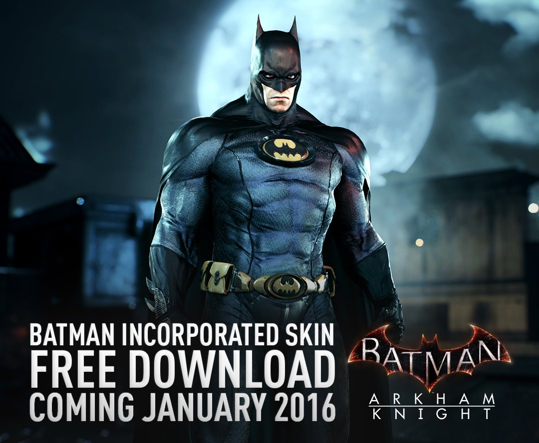 New DLC + Batman Inc skin are coming to #ArkhamKnight on 1/19 for PC & 1/26 for console. https://t.co/cQKlvFoPjK https://t.co/HPGVf57dVT