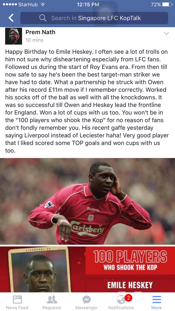 my memory of Emile Heskey playing for my beloved  happy Birthday Heskey!