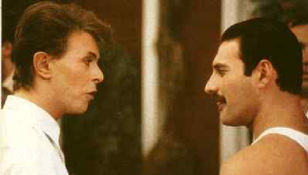 """Two greats now gone. Bowie and Freddie Sing """"Under Pressure."""" The Isolated Vocal Track https://t.co/RhGPLBGnXQ https://t.co/QMJWMNjB7i"""