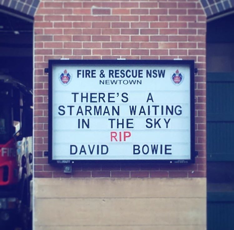 Newtown Fire Station paying tribute to David Bowie. https://t.co/oc13N7yS1C