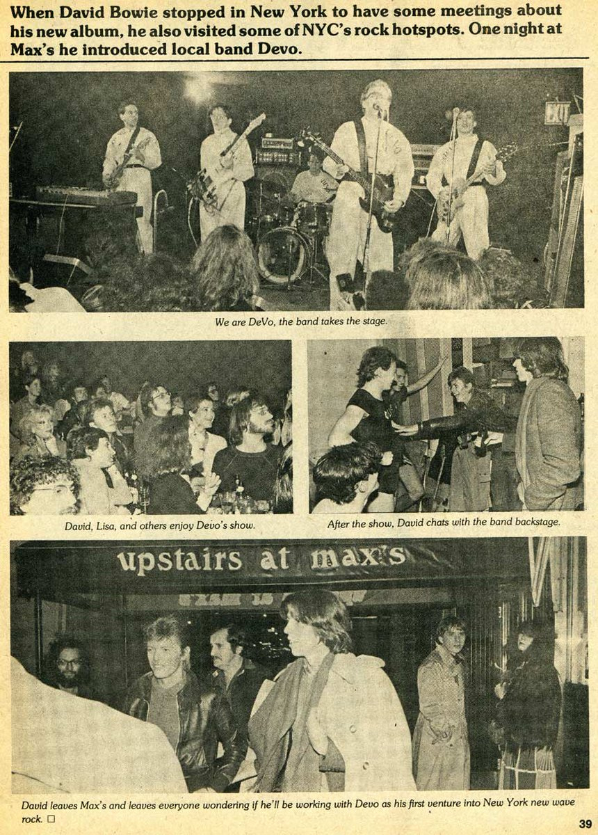 RIP BOWIE. 1970s issue of Rock Scene Magazine. Bowie & DEVO at Max's Kansas City in NY. https://t.co/vGdyNxg4iE