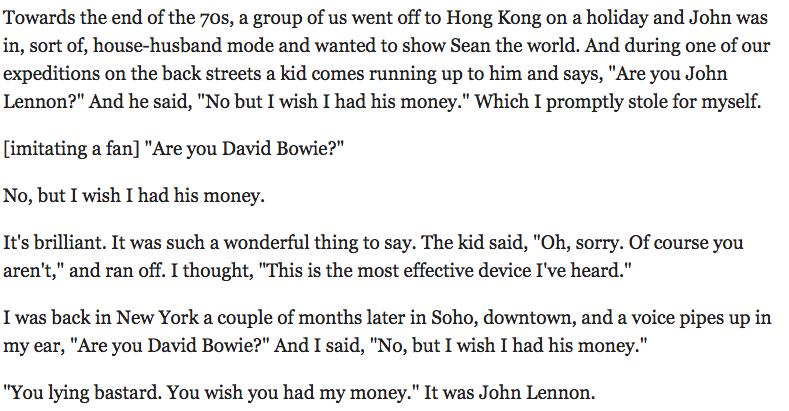 Bowie on being friends with Lennon https://t.co/njlPPRf64f https://t.co/5ol1KqSUMa