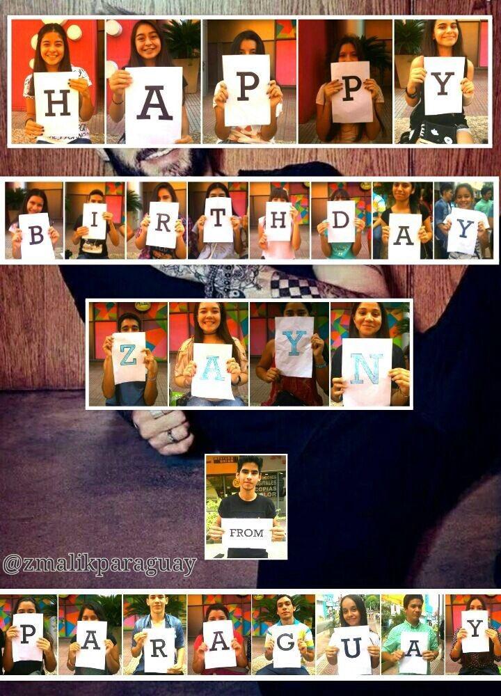 Happy birthday wishes you the fan club of Zayn Malik Paraguay, success.