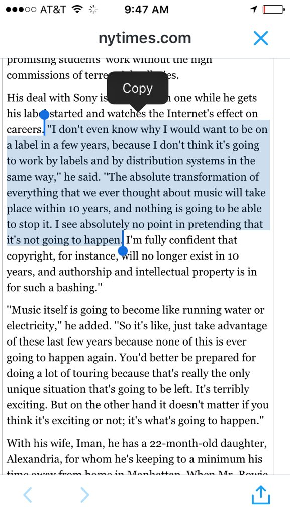 David Bowie, totally nailing the future of the music biz in 2002, when the industry's free fall had barely begun. https://t.co/FauopXzVPl