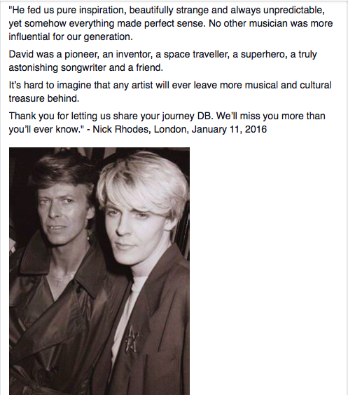 Nick on the passing of @DavidBowieReal https://t.co/CXVF0j8MuN