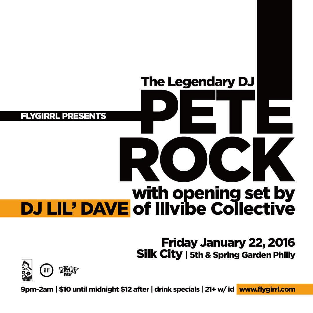 DJ @PeteRock x DJ @lildave215 at @SilkCityDiner Friday January 22! Doors at 9pm, see you on the dance floor!! https://t.co/ou4KgOtgir