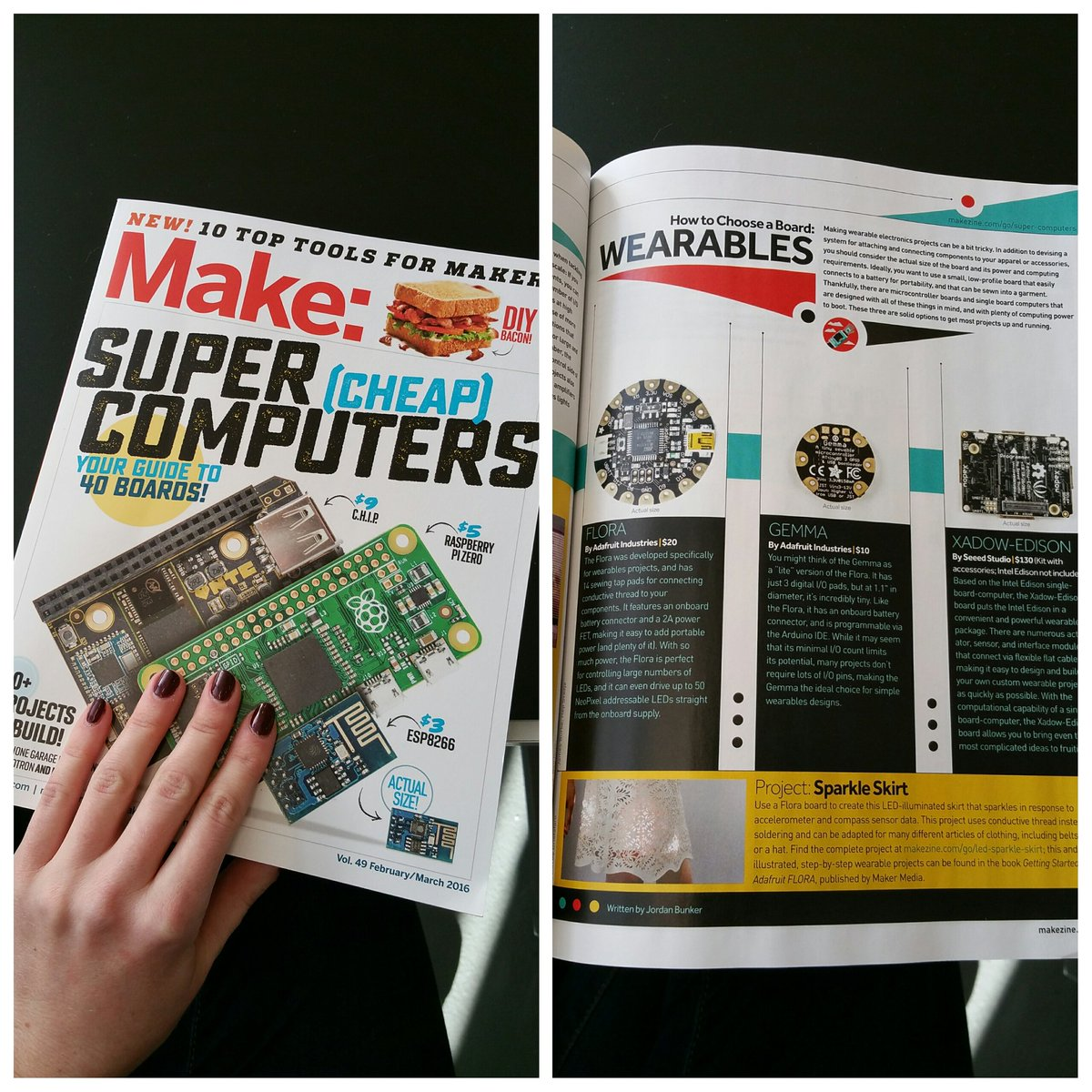 Nice ink for @adafruit FLORA & GEMMA in the latest issue of @make! https://t.co/mlvMgvYdGW