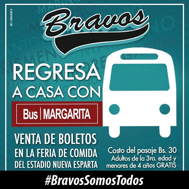 7:00 pm #CaribesDeAnzoátegui vs #BravosDeMargarita. El regreso es con #BusMargarita https://t.co/vSm0sVsSF6