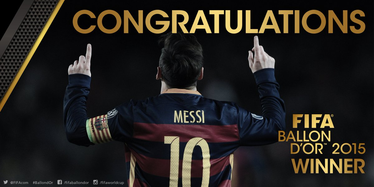 #Messi has won the FIFA Ballon d'Or #BallondOr https://t.co/XA2rmWKNGF https://t.co/GR0hqlH5ql