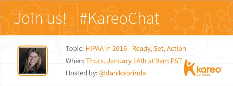 This week we're proud to feature #HIPAA expert @DanikaBrinda as #KareoChat host! Join us Thurs 9 am PST! #healthcare https://t.co/GQ24VSkKGj