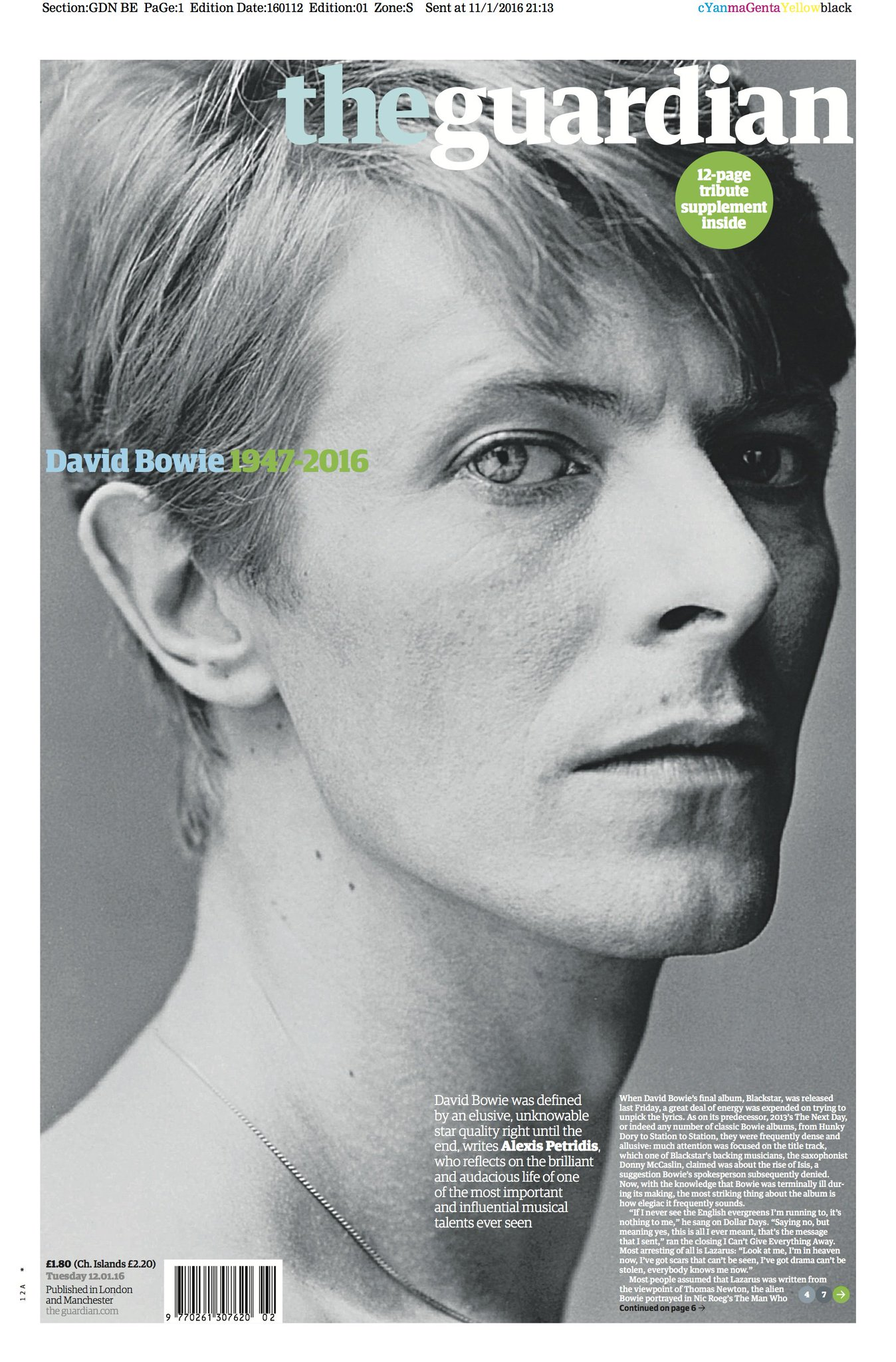 The Guardian front page, Tuesday 12 January 2016: David Bowie 1947-2016 https://t.co/jZqpfu1RPP
