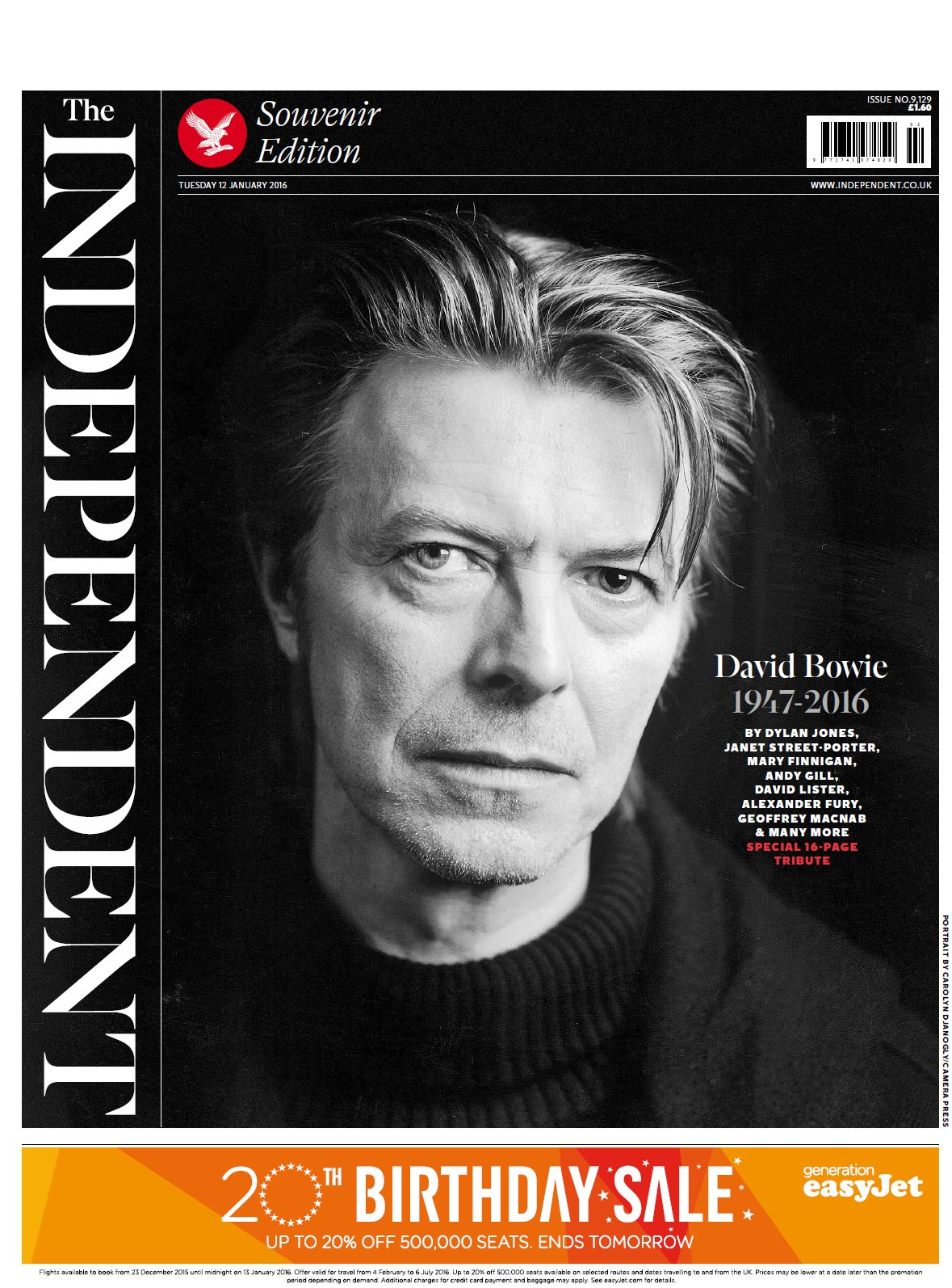 Tuesday's Independent front page: David Bowie 1947-2016 #tomorrowspaperstoday #bbcpapers https://t.co/WoA5KvHia1