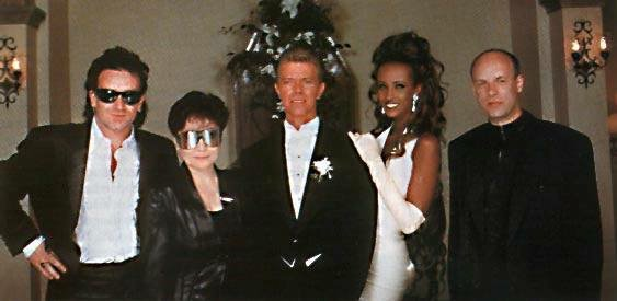 """David Bowie's wedding. """"Can we get one with Bono, Ono, and Eno?"""" #legend https://t.co/3hvy1S5OkD"""