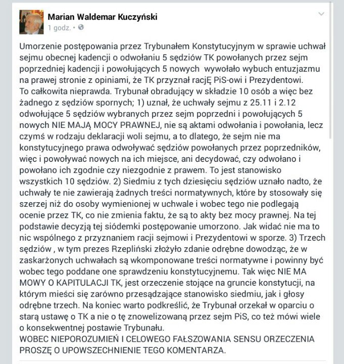 Komentarz Waldemara Kuczyńskiego do decyzji Trybunału Konstytucyjnego w sprawie umorzenia. https://t.co/DzaT6kUiEg
