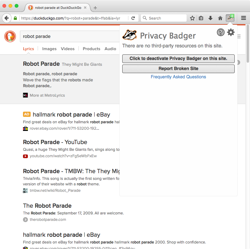 "The best part about using @duckduckgo. ""There are no third-party resources on this site."" https://t.co/vbEJqcc6aD"