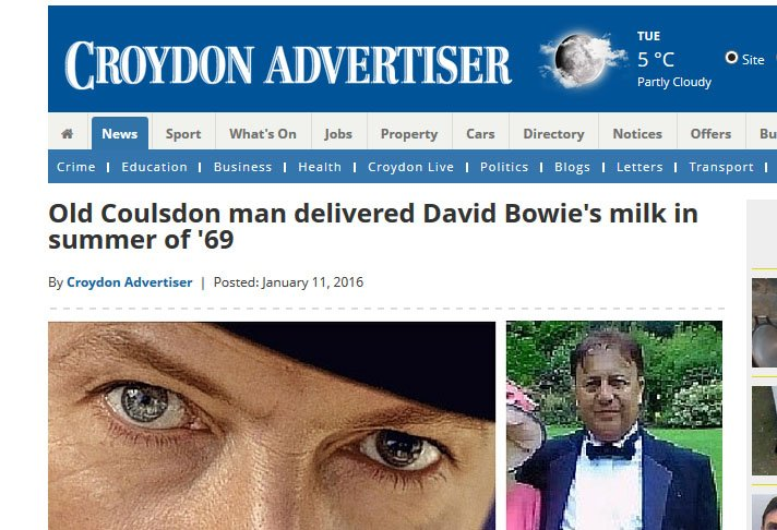 Local newspapers scraping the barrel in trying to find reasons to write about David Bowie https://t.co/2Jt2vsn8UA https://t.co/2uUyPMimrC