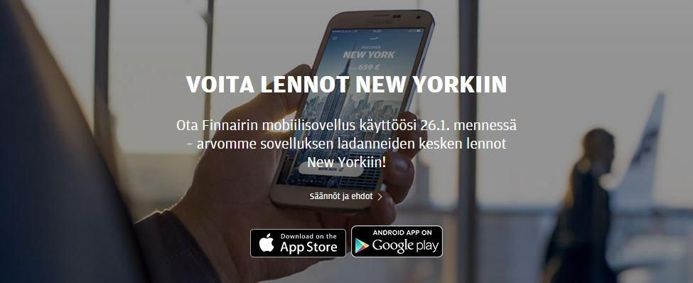 Lataa Finnairin mobiilisovellus 26.1.mennessä ja olet mukana NYC-lentojen arvonnassa!
