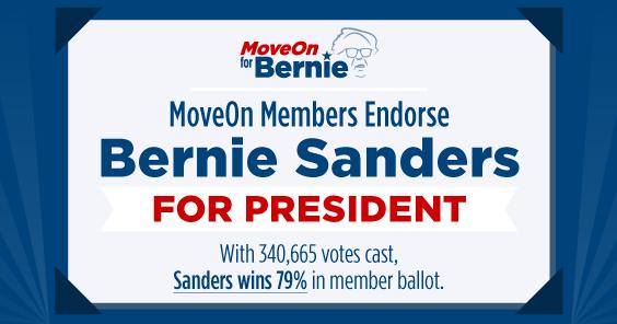 BREAKING: #MoveOn members back @BernieSanders in the #2016 presidential race! #FeelTheBern https://t.co/aT8id1i502