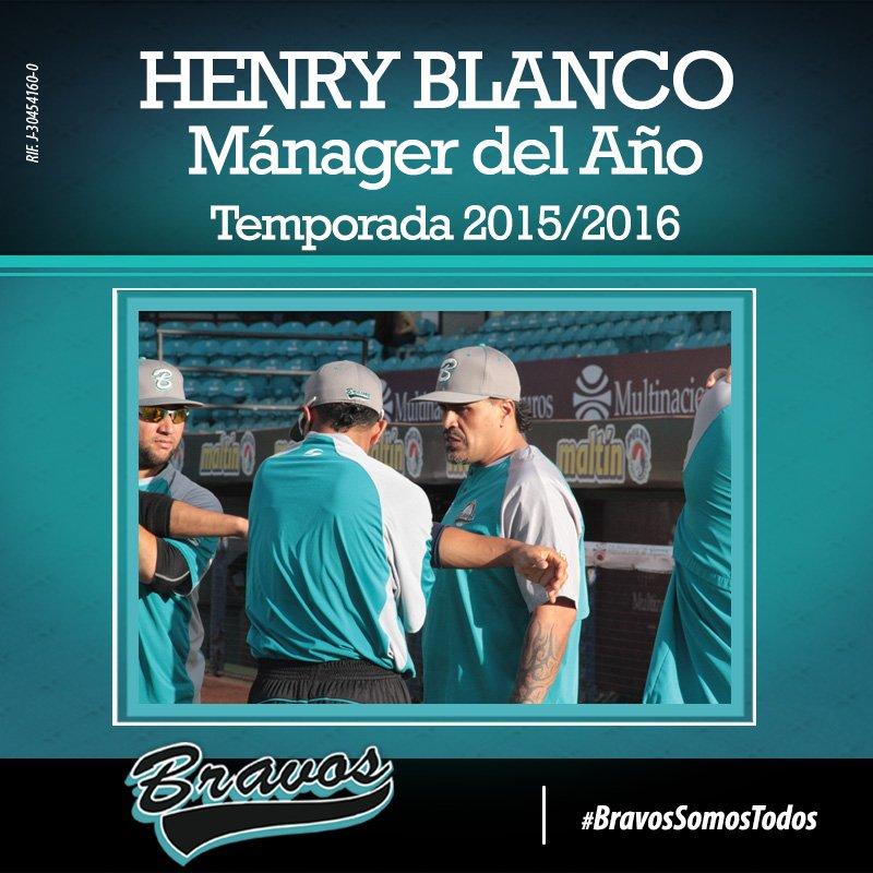 """Felicitamos a Henry Blanco por ser el """"Mánager del Año"""" de la temporada 2015/2016... #BravosSomosTodos #LVBP https://t.co/mWIqTnLJc8"""