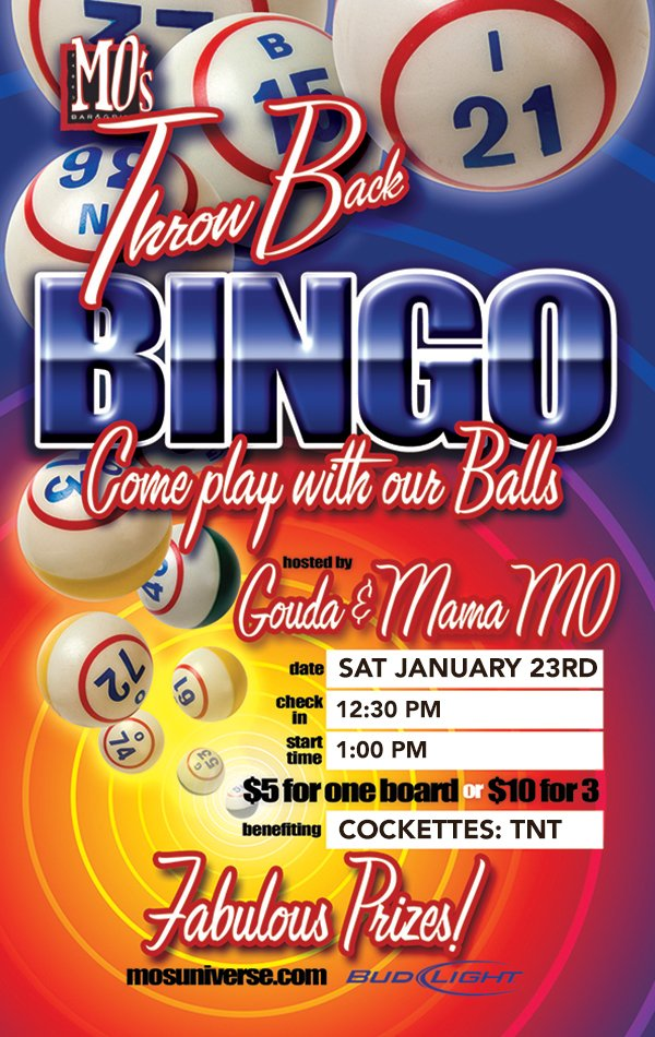Join us for BINGO on Sat, Jan 23 and get a pic w/ our guest host @MaxCarterXXX as you play for the MEGA GRAND PRIZE!