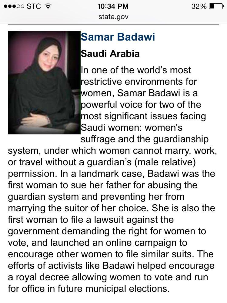 Peaceful activist & winner of 2012 Woman of Courage award @samarbadawi15 arrested today.  #SamarBadawi #SaudiArabia https://t.co/rWQbdCa3H9