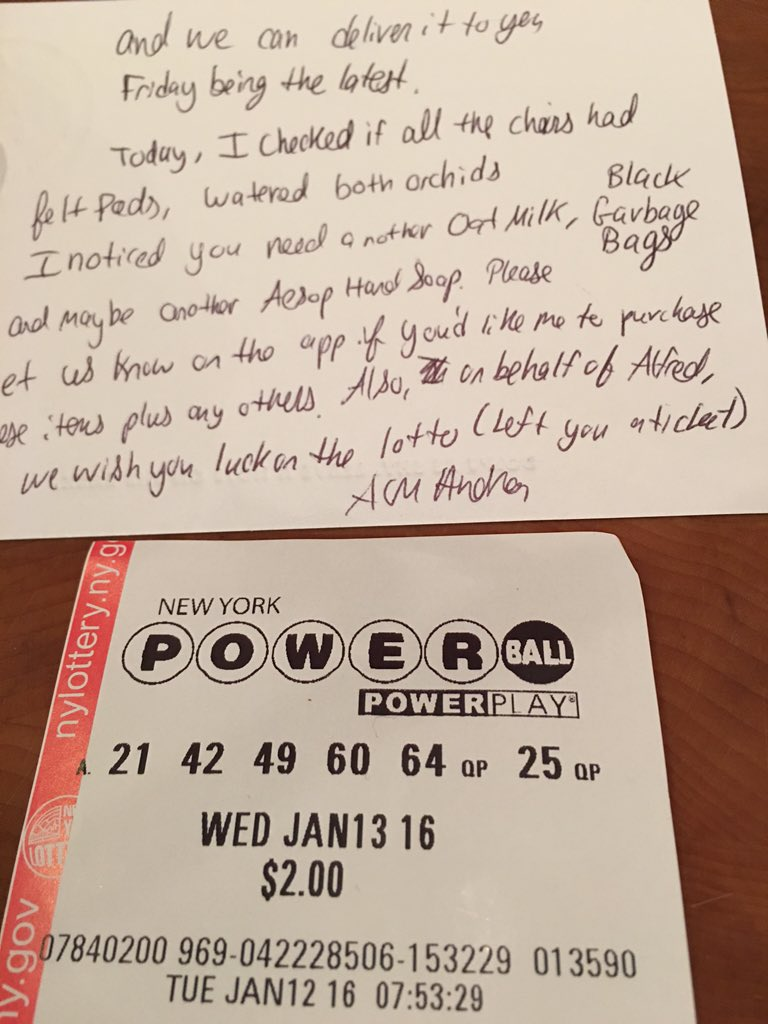 "Whoa. @HelloAlfred bought me a Powerball Ticket ""just because""!! Forget Customer Service -- Customer Charm! https://t.co/HWqfijVAnJ"