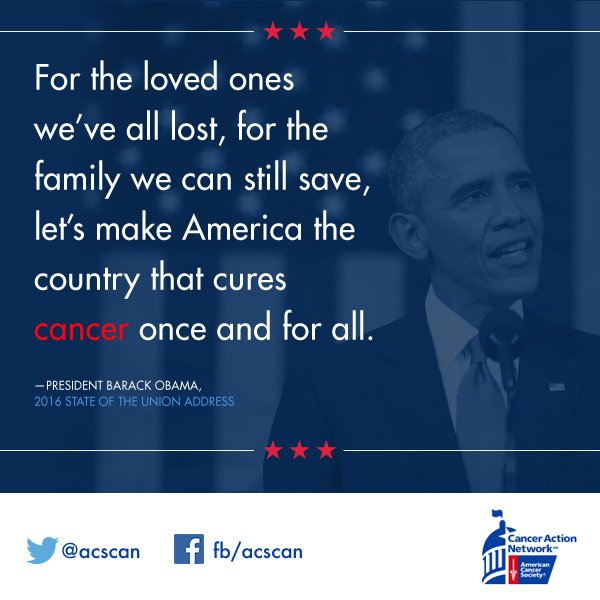 We agree, @POTUS. Let's all work together to find an end to cancer. #SOTU #OneDegree https://t.co/GL1egCi9kH