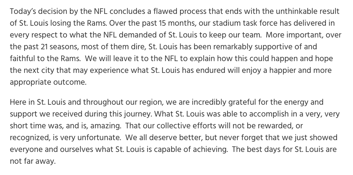 Strong statement here from the @stlstadium task force on the #Rams relocation announcement: https://t.co/VgdE809JCq https://t.co/pWZ9PKMcJx