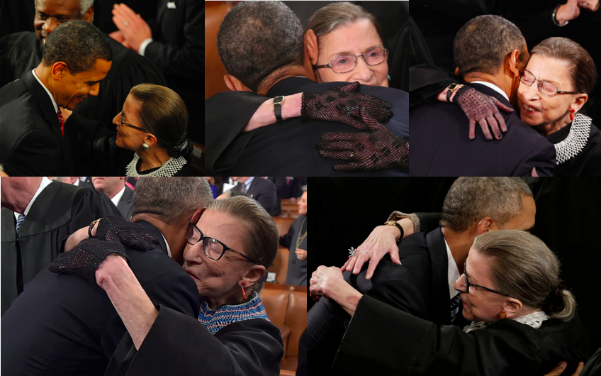 Here you are: The Obama-RBG hugs, in order. 2009, 2011, 2013, 2015, 2016  #notoriousRBG https://t.co/aVS1kRpy4A