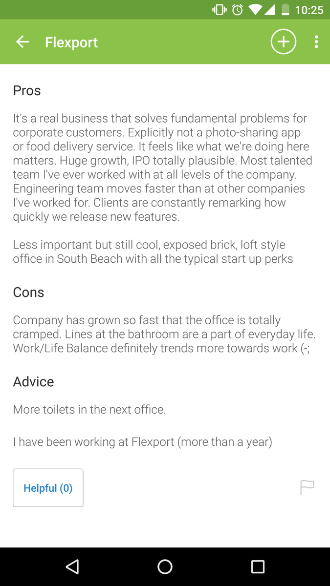 """more toilets in the next office""  Glassdoor reviews of startups ="