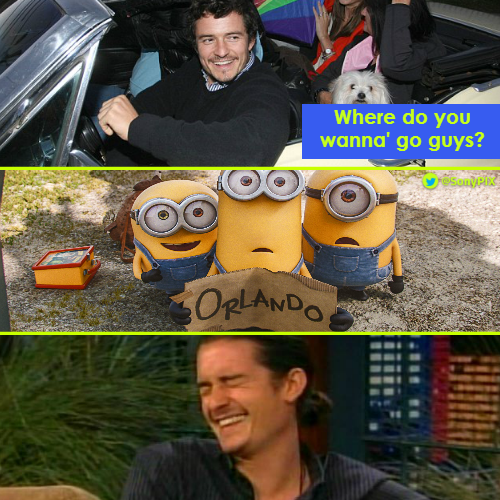 Here\s wishing a very happy birthday to Orlando Bloom from minions and Sony PIX!