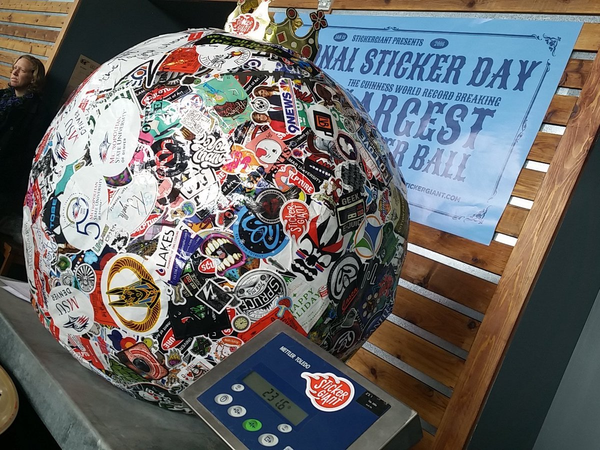 Saul the World's #LargestStickerBall on #NationalStickerDay @WibbyBrewing. Tally: 231.6 pounds. Thanks to everyone. https://t.co/RdDo8gjKyo